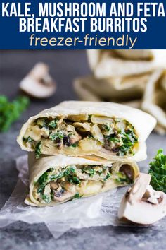 These freezer-friendly healthy breakfast burritos are packed with kale, mushrooms and feta. The perfect easy grab and go breakfast that will actually keep you full! Breakfast Potluck, Breakfast Burritos, Healthy Breakfast Recipes, Healthy Snacks, Healthy Recipes, Brunch Recipes, Breakfast Ideas, Brunch Ideas, Vegetarian Recipes