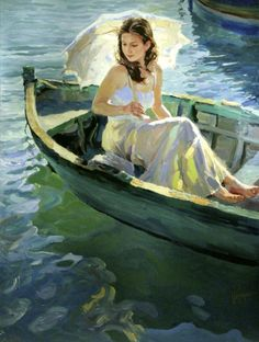 On the Lake Painting by Vladimir Volegov