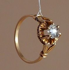 Antique 0.65ct Rose Cut Diamond 18K Gold Ring