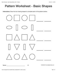 Pattern worksheets for kids - black & white basic shapes, 1-2 pattern. Draw the two missing shapes to complete the pattern