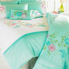 Riva Home Papillon Bedspread, Duck Egg Blue, 260 x 240 Cm