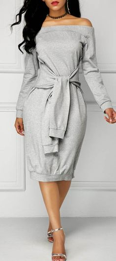 Grey Long Sleeve Tie Front Bardot Dress *** Want to know more, click on the image. #BeautifulFashion