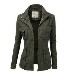 women's millitary jacket | Womens Trendy Military Cotton Drawstring Jacket