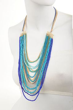 Beaded Blue Bliss Statement Necklace $28 FREE SHIPPING