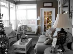 My Sunroom decorated for Christmas, You can see my bedroom tree shining through the french door      , Holidays Design