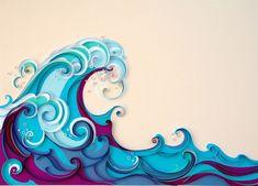 Quilling ocean waves.