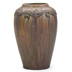 "Frederick Hurten Rhead (1880-1942) - For Arequipa Pottery (1911-1918) - Vase. Carved, Painted & Matte Glazed Pottery. Arequipa Sanatorium, Fairfax, California. Circa 1911-1913. 7-1/4"" x 5""."