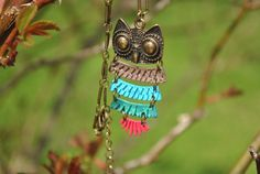 Multi color Owl Necklace Owl Necklace Gift by DorisAnnCreations
