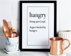 Hangry Funny Definition Print Printable Kitchen by printabold