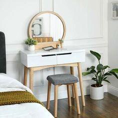 Wrought Studio Arinze Vanity Set with Mirror Colour: Natural/White Decor, Furniture, Vanity Set With Mirror, Vanity Table Set, Interior, Vanity Table, Small Vanity, Vanity Set, Modern Vanity