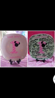 Minnie mouse 1st birthday plate pink by BaberzCouture2012 on Etsy | We Know How To Do It