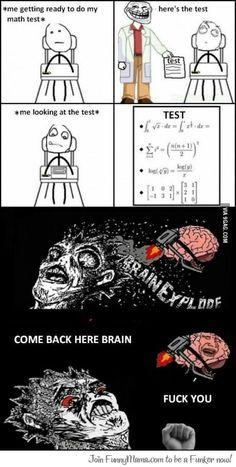 Math test funny meme Funny memes and pics Rage Comics, Derp Comics, Funny Comics, College Memes, School Memes, Funny School, Funny Images, Funny Pictures, Troll Meme