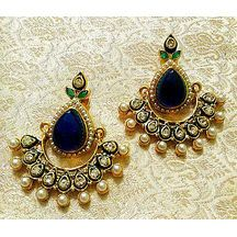 Lalso Gorgeous Bollywood Style Blue Stone Pearl Earrings - Rgp_bl