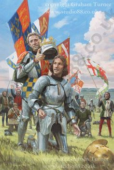 victorious Henry Tudor being crowned by Lord Stanley on the battlefield, surrounded by his tired but jubilant supporters. ...or, The Usurper being crowned by The Traitor