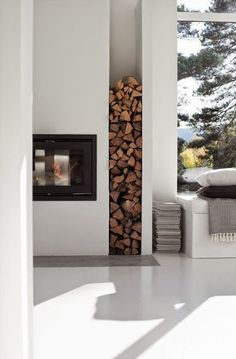 Fireplace Firewood Storage Idea In Outdoor 38 What Does An Air Purifier Do? Log Store Indoor, Indoor Firewood Rack, Wood Store, Log Burner, Storage Design, Storage Ideas, Home Deco, Sweet Home, New Homes