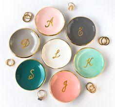 Monogrammiert Goldring Gericht personalisierte Ring von ModernMud
