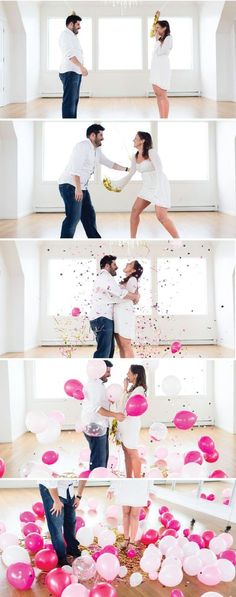 gender reveal party and photo announcement is simply adorable—and is sure to inspire your baby shower plans with its creative balloon drop. Plus, the expecting parents can look back and enjoy these memorable moments with their growing bundle of joy. Gender Reveal Photography, Gender Reveal Photos, Baby Gender Reveal Party, Gender Party, Balloon Gender Reveal, Gender Reveal Shooting, Unique Gender Reveal Ideas, Photography Ideas, Pregnancy Gender Reveal
