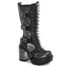 SINISTER-202 - Studded Multi Buckled Multi Strapped Chrome Heel Womens Cyber Calf Boots