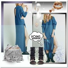 Blue Cutout Back Long Sweater Dress With Splits