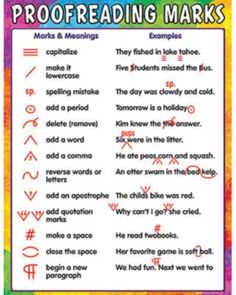 Teacher Created Resources Proofreading Marks Chart, Multi Color Related lessons and activities are provided on the back of every chart. Each chart measures 17 x 22 Inches. Shiny, protective coating for durability English Writing Skills, English Lessons, English Vocabulary, Teaching English, English Grammar, English Language Arts, Teaching Writing, Writing Help, Writing A Book
