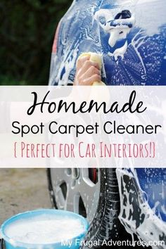 Homemade and nontoxic Spot Carpet Cleaner. Mix up items you already have on hand and watch those spots disappear!  This works wonders on car interiors or in the house!