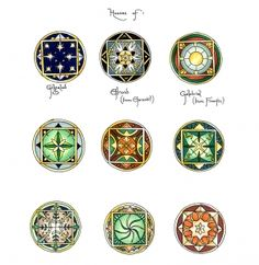 The seals of the Elven Houses, from The Lord of the Rings films. Designed by Daniel Falconer of Weta Workshops. I believe him to be the ultimate final designer of the White Tree of Gondor as well.