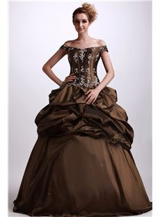 A-Line Floor-Length Off-The-Shoulder Beaded Applique Angerlika's Quinceanera Ball Gown Dress & inexpensive Quinceanera Dresses