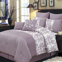 Modern Floral Purple White Color Block 8 piece Comforter and Shams Set with Decorative Pillows