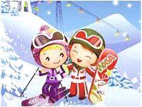 Friend skiing