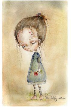 Little m& orphan girl.original aquarelle ,mixed media painting,o Oil Pastel Drawings Easy, Easy Drawings, Cupcake Illustration, Illustration Art, Orphan Girl, Dark Pictures, Mixed Media Painting, Painting For Kids, Medium Art