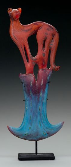 William Morris blown glass panther with a steel stand. C. 2001.