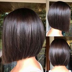 60 Beautiful and Convenient Medium Bob Hairstyles Sleek Blunt Brunette Bob A chic cut like this blunt bob is sure to have Demi approval. Flat-iron for a smooth sleek look. Minimal layering may give off a simple vibe, but this stunning cut is anything but. Bob Haircut For Fine Hair, Bob Hairstyles For Fine Hair, Medium Bob Hairstyles, Short Bob Haircuts, Haircut Bob, Bob Hairstyles Brunette, Teenage Hairstyles, Brunette Bob Short, Brunette Bob Haircut