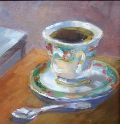 """Contemporary Artists of Georgia: """" A Cup of Christmas"""" Original Tea Cup Still Life Oil Painting by Georgia Artist Deanna Jaugstetter"""