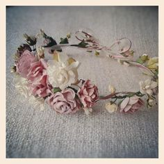 Dusky Pink Rose Blooms -   The soft Dusty Pink roses and Ivory mixed flowers give this garland an enchanting and romantic allure.    Made to order.
