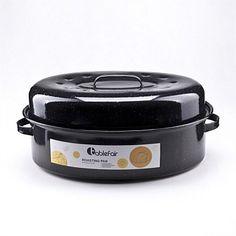Roasting Trays & Dishes - Briscoes - Tablefair Enamel Oval Roaster 47 x 33cmx15cm