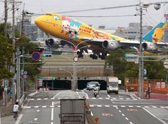 Pokemon 747 airplane takes off in Japan