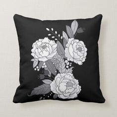 Shop black-white gray peony flowers leaves botanical throw pillow created by KaraBra. Small Gift Bags, Small Gifts, Peony Flower, Floral Flowers, Black And White Pillows, Black White, Lilac Grey, Gray, Seating Chart Wedding