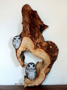 2 owls painted on rocks, hiding in a tree slice
