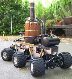 Steampunk R/C Steam Rover  6 wheel drive, 4 wheel steering.... Steam Powered LOOKS LIKE A PORTABLE MOONSHINE MACHINE !