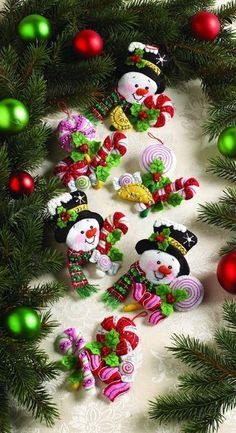 Candy Snowman Christmas Ornaments - Felt Applique Kit