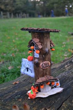 Who says fairies don't celebrate Halloween! Beautiful hand made Halloween Fairy Haunt, made using wood from a fallen tree. This Halloween fairy haunt is approximately wide and high. The fairy haunt has many unique feature. Halloween Fairy, Halloween Themes, Autumn Trees, Beautiful Hands, Bird Feeders, Artisan, Challenge, Outdoor Decor, August 2014