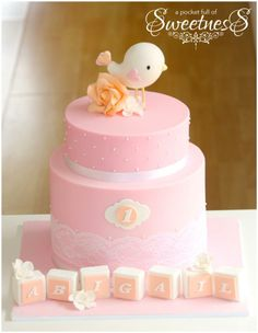 Sweetest pink bird cake perfect for a little girl's second birthday.