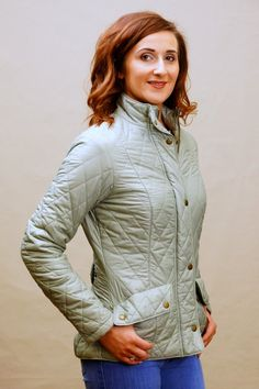 Barbour Flyweight Cavalry Quilt in Pale Sage LQU0228GN11 - Smyths Country Sports Sage Color, Princess Seam, Quilted Jacket, Barbour, Hand Warmers, Saga, Overalls, Feminine, Turtle Neck