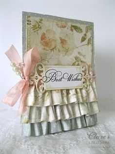 paper ruffles card tutorial. This would be great set for a wedding card or prom,dance card with some elegant background paper to resemble a dress.