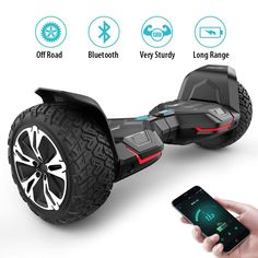 Gyroor Hoverboard Warrior inch All Terrain Off Road Hoverboard with Music Speakers and LED Certified Self Balancing Hoverboards Best Electric Scooter, Electric Skateboard, Electric Vehicle, Moped Scooter, Scooter Girl, Jerry Can Mini Bar, Off Road Camper Trailer, Remote Control Boat, Art Drawings For Kids