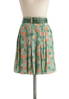 at Mod Cloth // Outdoor Installation Skirt - Green, Orange, Print, Pleats, Work, Vintage Inspired, 60s, 70s, A-line, Short