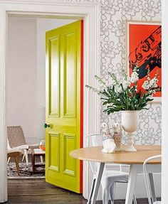 Take a peek at our favorite yellow doors from around the web. As an interior or exterior accent, this bright hue is bound to shake up your home with color. For more paint and color ideas and home design trends go to Domino. Painted Interior Doors, Door Design Interior, Front Door Paint Colors, Painted Front Doors, Porta Diy, Modern Hallway, Yellow Doors, Style At Home, Home Fashion