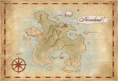 Large Neverland Map Print- 13x19in- Vintage Style Fantasy Map- Art Print, $31.00