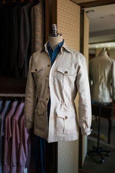 A Cool Weather Safari Jacket Stylish Men, Men Casual, Classic Men, Safari Jacket, Mens Trends, Bespoke Tailoring, Field Jacket, Gentleman Style, Mens Suits