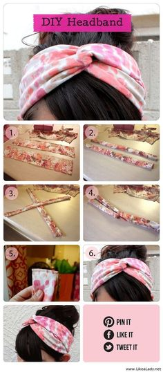 DIY- need to do this DIY Head Band diy diy ideas diy clothes easy diy diy hair diy fashion diy headband DIY glitter iPhone cases. Fun Crafts, Diy And Crafts, Homemade Crafts, Decor Crafts, Diy Trend, Diy Kleidung, Diy Mode, Turban Headbands, Fabric Headbands